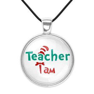 Teacher I Am Dr Seuss Cat Hat Glass Pendant Necklace Christmas Gift Idea New